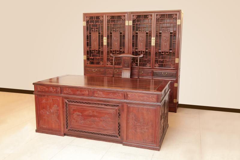 2米办公台/山水书柜